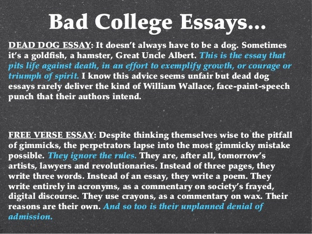 college essay copy  10 bad college essays