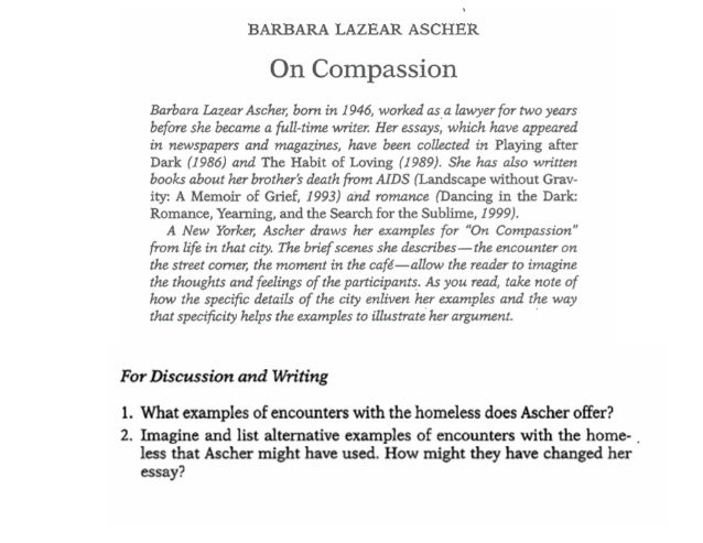 "barbara lazear ascher rhetorical analysis essay Students will identify simple and complex rhetorical devices used such as:  allusions, analogies  definition these four essays will be written in class or as  an overnight homework and graded  ""on compassion"" by barbara lazear  ascher."