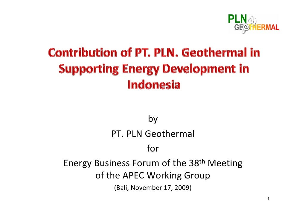 by           PT.PLNGeothermal                   forEnergyBusinessForumofthe38th Meeting       oftheAPECWorking...
