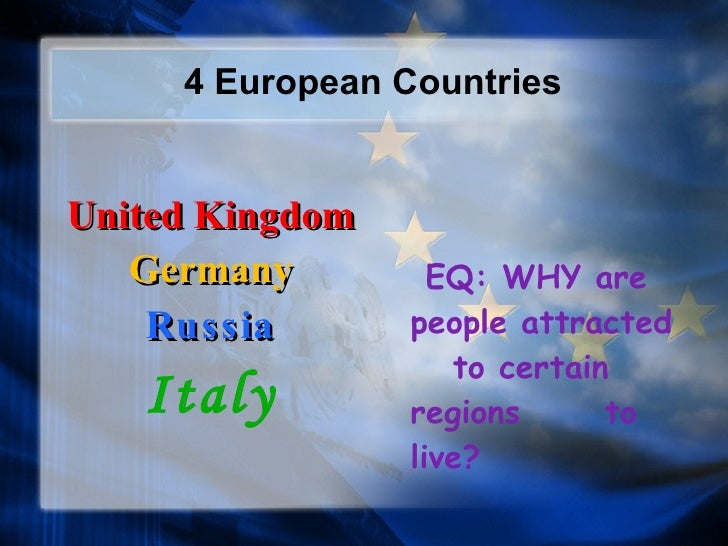4 European Countries <ul><li>United Kingdom </li></ul><ul><li>Germany </li></ul><ul><li>Russia </li></ul><ul><li>Italy </l...