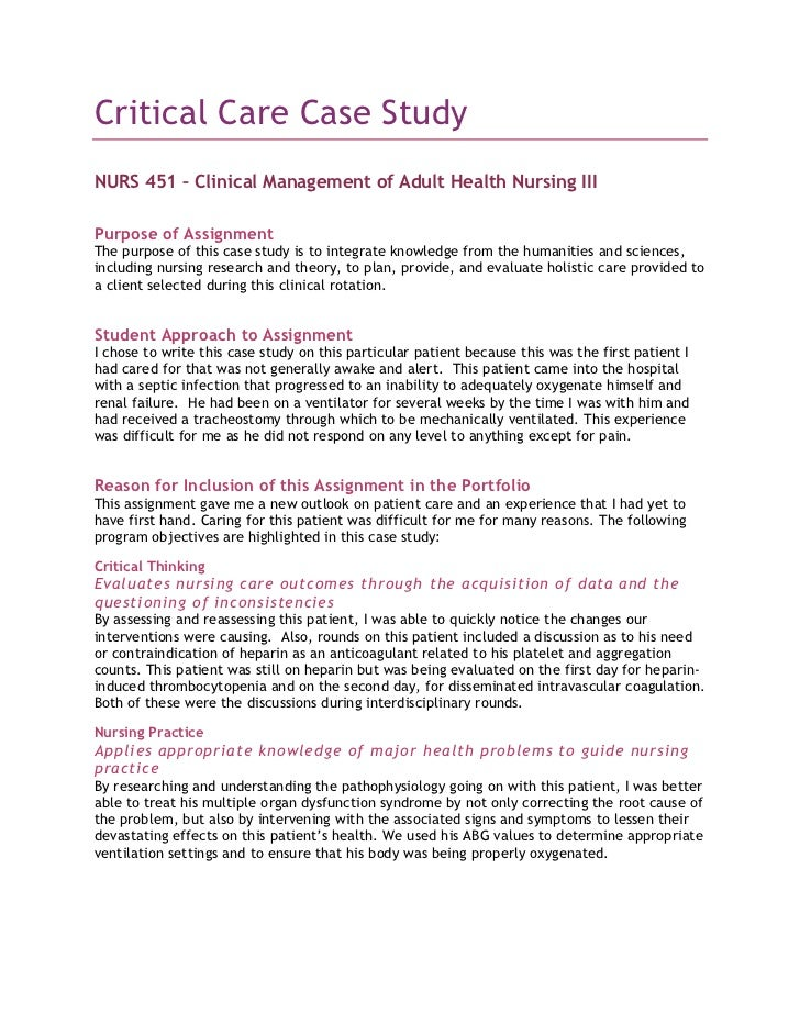 critical care case study critical care case study<br >nurs 451 clinical management of adult health
