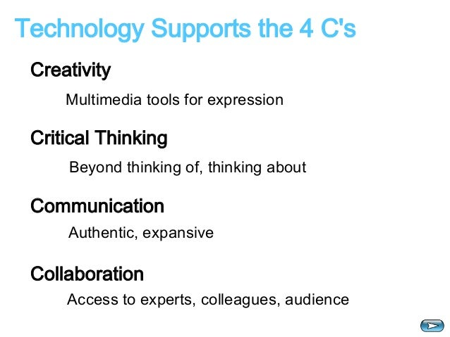 Technology Supports the 4 C's  Creativity  Multimedia tools for expression  Critical Thinking  Beyond thinking of, thinkin...