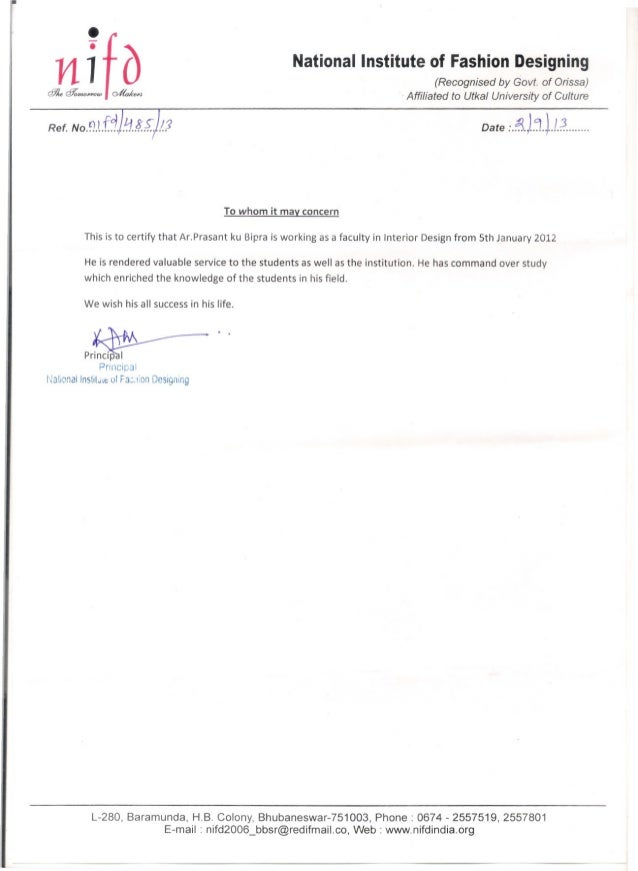 NIfd Experience Certificate. Experience Letter For Interior Designer ...
