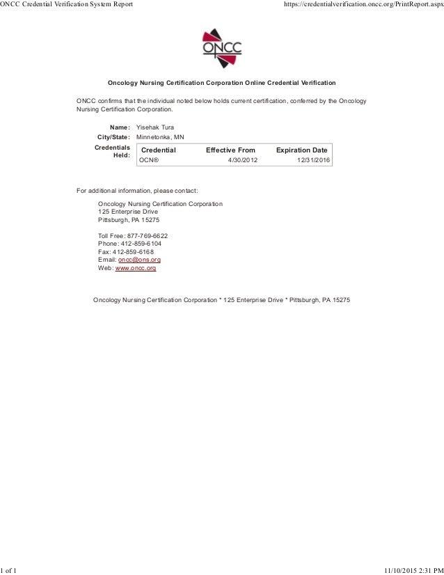 Ocn Credential