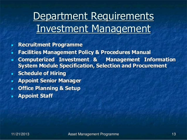 investment policy and procedures manual