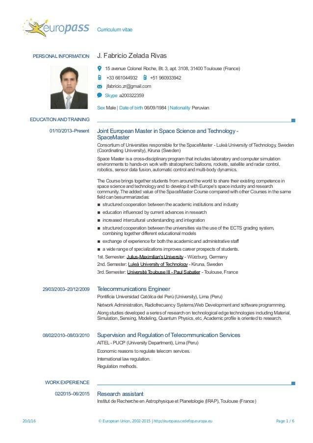 europass curriculum vitae svenska