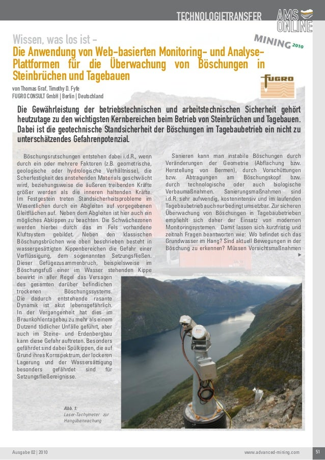 51Ausgabe 02   2010 TECHNOLOGIETRANSFER www.advanced-mining.com Wissen, was los ist - Die Anwendung von Web-basierten Moni...