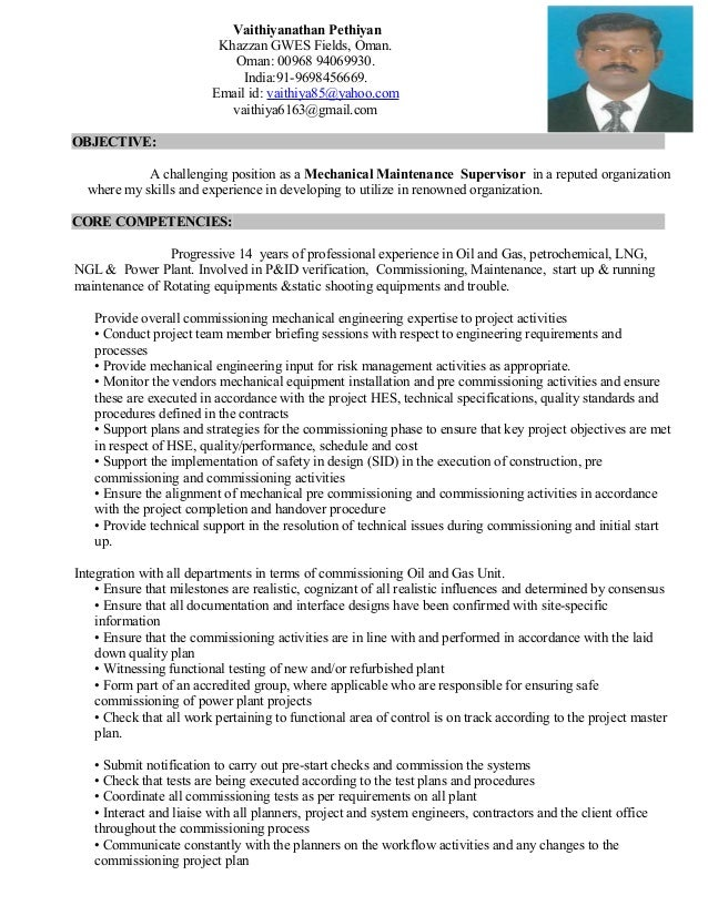 mechanical maintenance supervisor cv