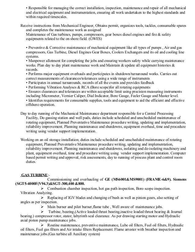 excellent mechanical maintenance resume ideas resume