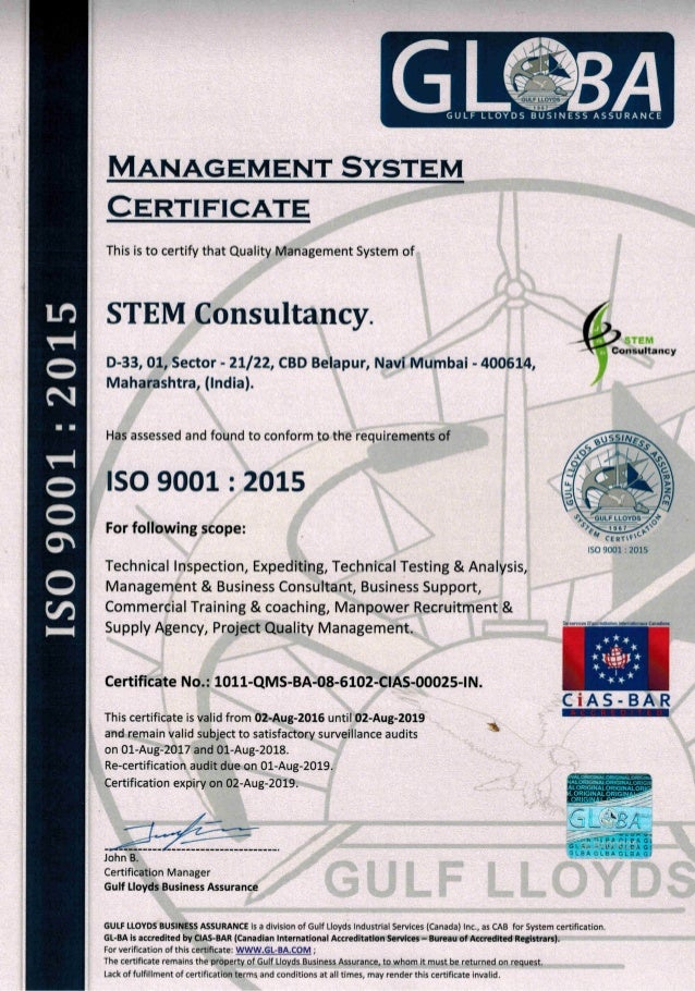 ISO 9001 STEM COUNSULTANCY