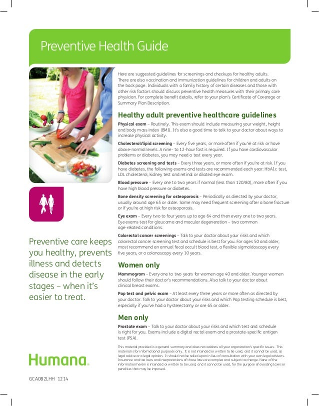 humana preventive health guide rh slideshare net Medicare Preventive Exam Medicare Preventive Exam