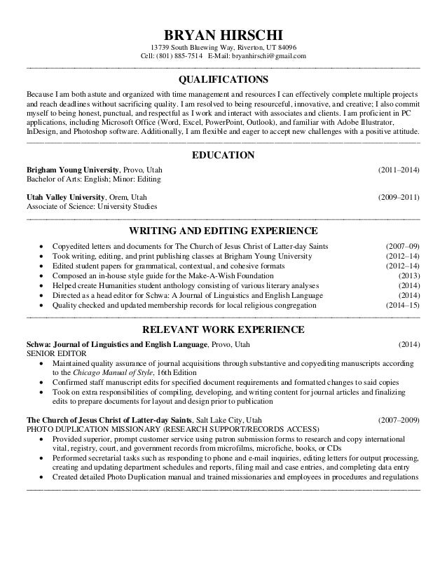 copy editing resume
