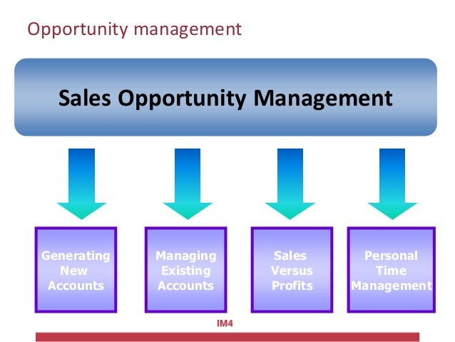 Opportunity management Sales Opportunity Management Generating New Accounts Managing Existing Accounts Personal Time Manag...