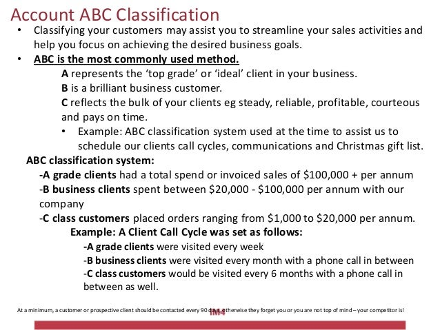Account ABC Classification • Classifying your customers may assist you to streamline your sales activities and help you fo...