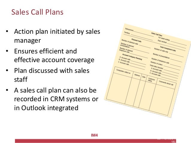 Copyright © 2010 Pearson Education, Inc. Publishing as Prentice Hall Sales Call Plans • Action plan initiated by sales man...