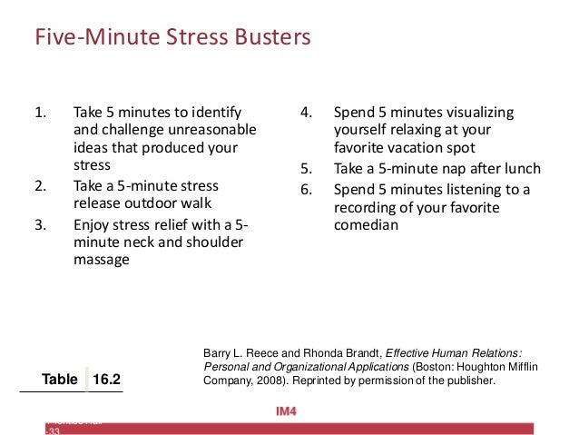 Copyright © 2010 Pearson Education, Inc. Publishing as Prentice Hall Five-Minute Stress Busters 1. Take 5 minutes to ident...