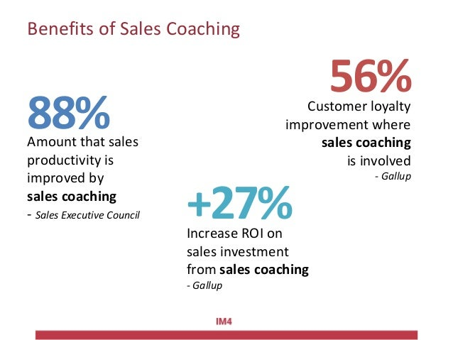 Benefits of Sales Coaching 88% +27% 56% Amount that sales productivity is improved by sales coaching - Sales Executive Cou...