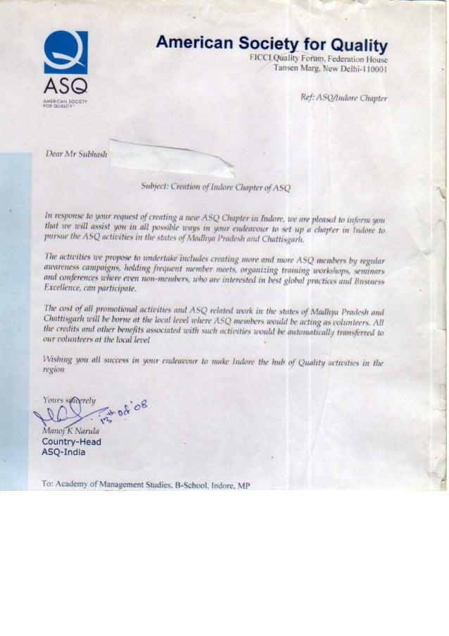 ASQ  Letter