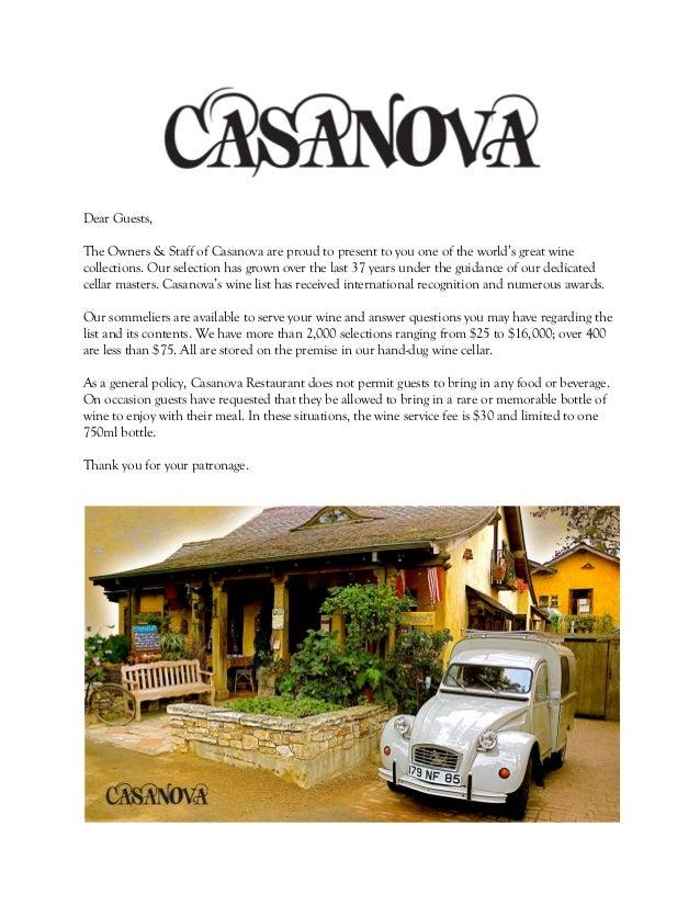 Casanova Wine List - Car sign with namescasanova locksmith san mateo in san mateo ca casanova