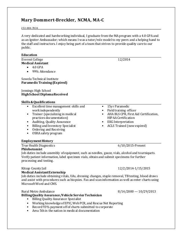Mary Dommert Breckler S Resume