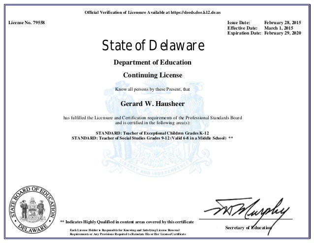 De Teaching License 2015 2020