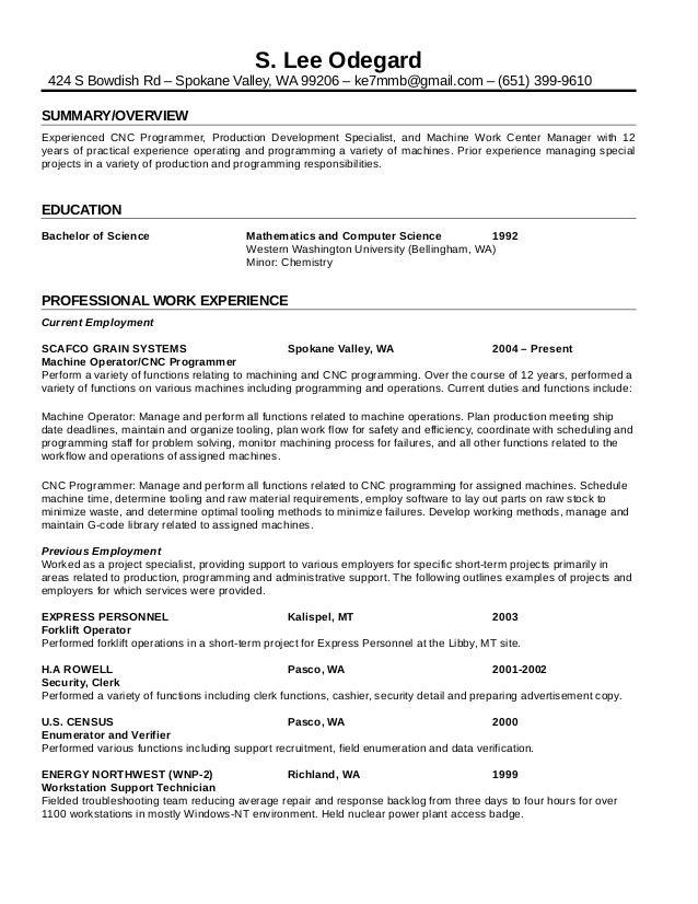 Resume - Lee Odegard