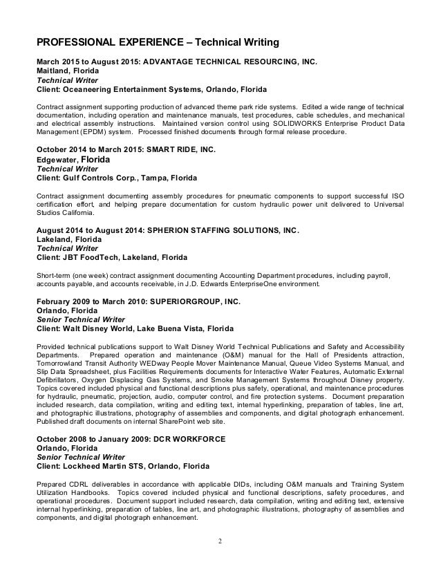 Robert Baldwin Resume - Technical Writer - 12-8-2015