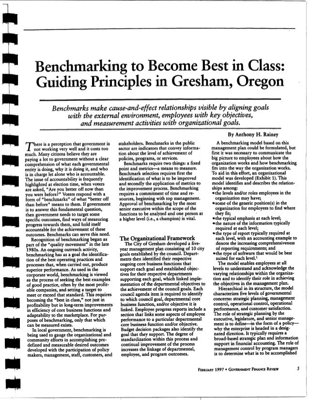 A Benchmarking to Become Best in Class: Guiding Principles in Gresham, Oregon Benchmarks make cause-and-effect relationshi...