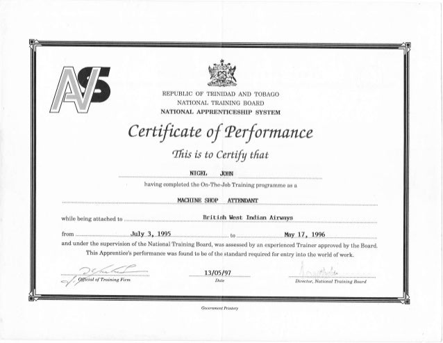 ntb certificate of performance