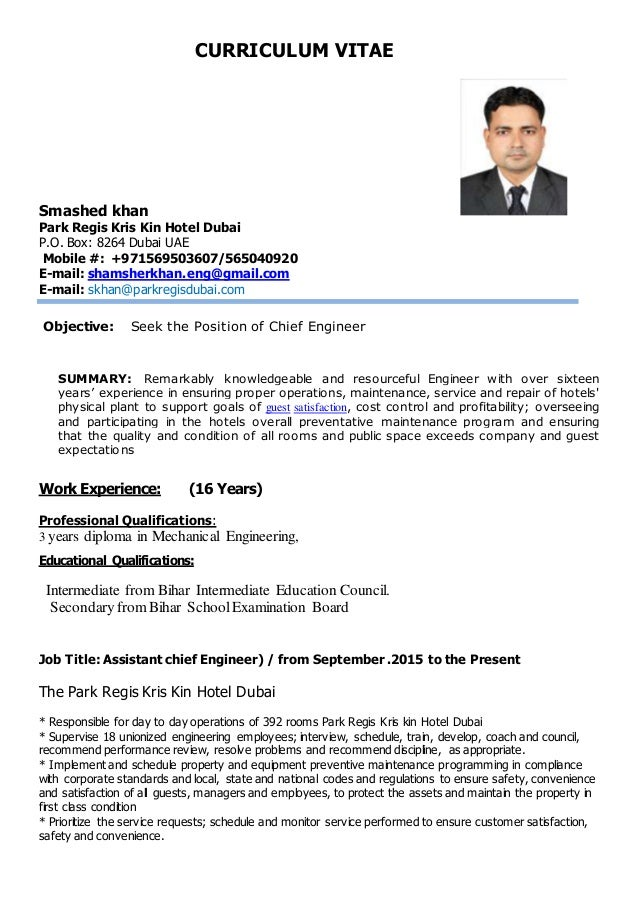 s khan cv for chief engineer