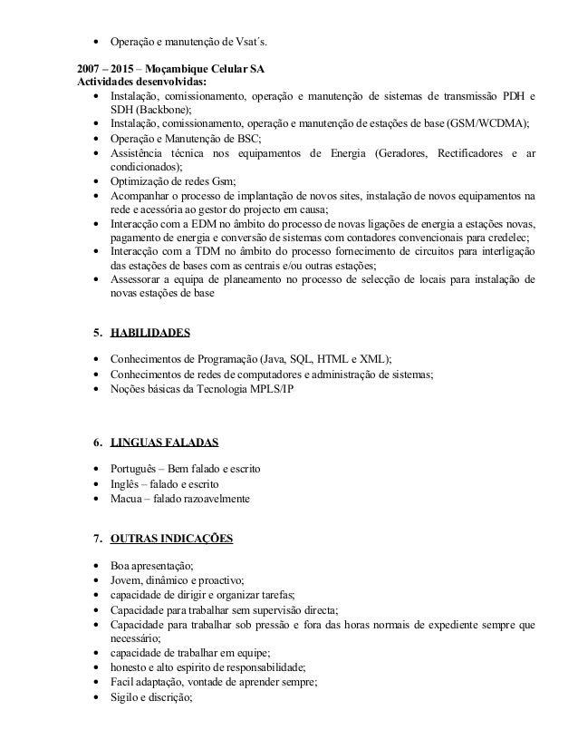 curriculum vitae usado em moçambique