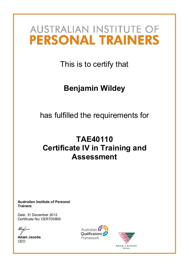 Certificate Iv In Training And Assessment Tae40110 Dec 2012