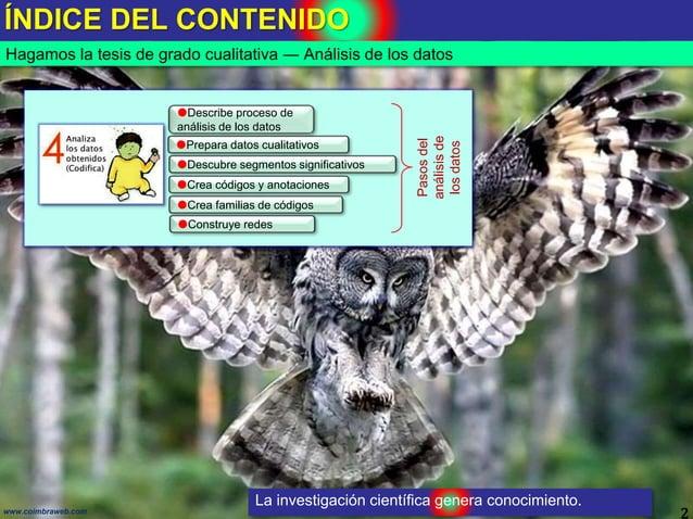 ÍNDICE DEL CONTENIDO 2www.coimbraweb.com Hagamos la tesis de grado cualitativa ― Análisis de los datos La investigación ci...
