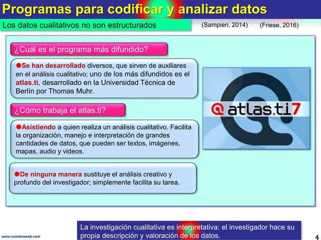 Programas para codificar y analizar datos 4www.coimbraweb.com Los datos cualitativos no son estructurados Se han desarrol...