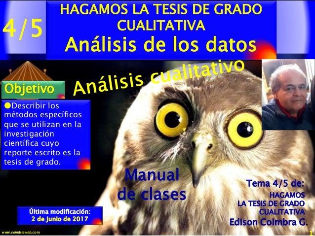 4/5 1www.coimbraweb.com Manual de clases Última modificación: 2 de junio de 2017 HAGAMOS LA TESIS DE GRADO CUALITATIVA Aná...