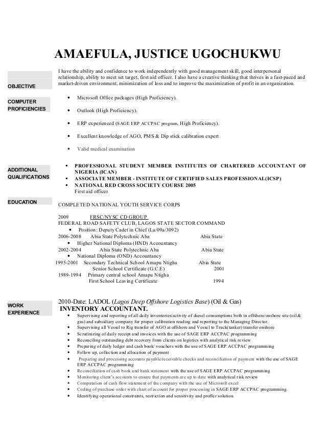 AMAEFULA, JUSTICE UGOCHUKWU OBJECTIVE I have the ability and confidence to work independently with good management skill, ...