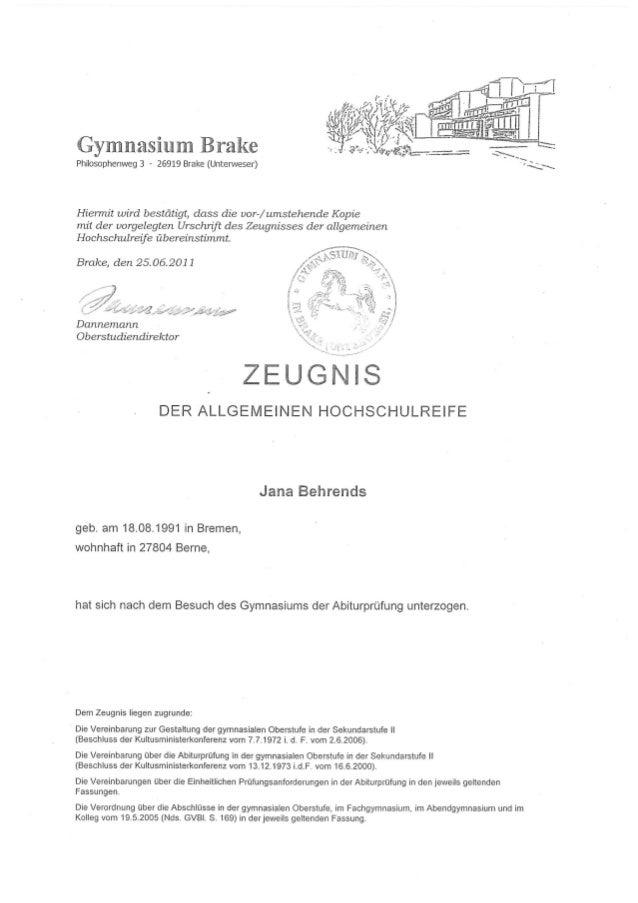Abitur Zeugnis
