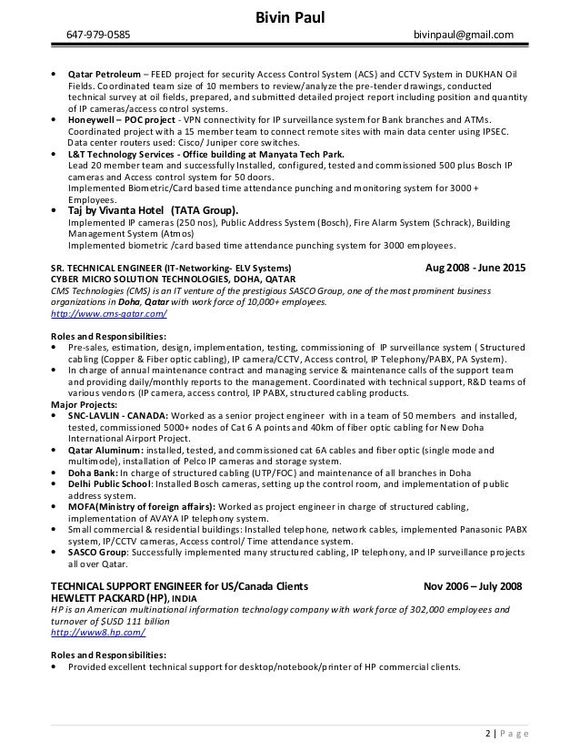 Bivin Paul Resume Physical Security And Elv System