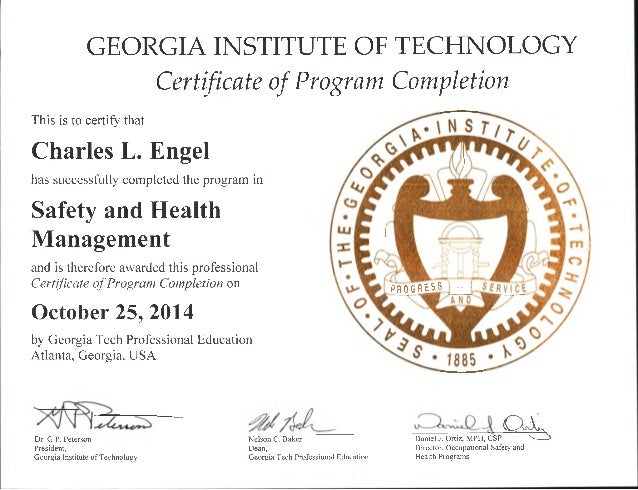 Safety and Health Management - 2014 Certificate