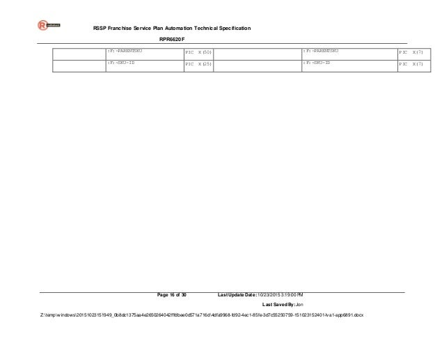 Technical Specification Rpr6620f Cobol