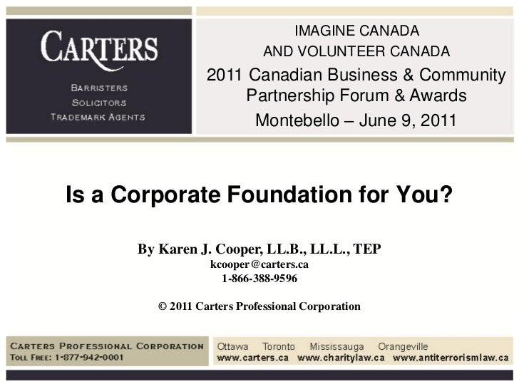 IMAGINE CANADA                             AND VOLUNTEER CANADA                  2011 Canadian Business & Community       ...