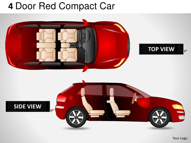 4 Door Red Compact Car                         TOP VIEW SIDE VIEW                                Your Logo