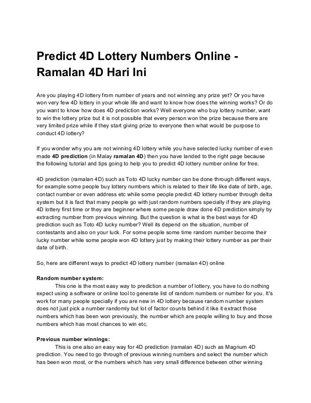 Www Toto 4d Lucky Number List