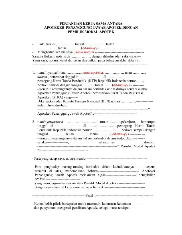 Contoh Surat Pengunduran Diri Apoteker Penanggung Jawab