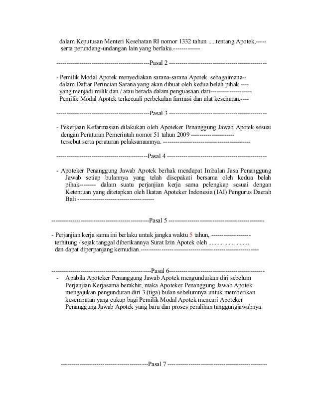 Contoh Surat Kerjasama Klinik Dengan Apotek