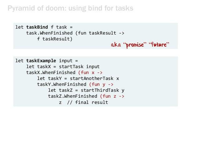 Pyramid of doom: using bind for tasks let taskBind f task = task.WhenFinished (fun taskResult -> f taskResult) let taskExa...