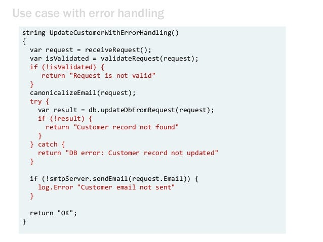 Use case with error handling string UpdateCustomerWithErrorHandling() { var request = receiveRequest(); var isValidated = ...