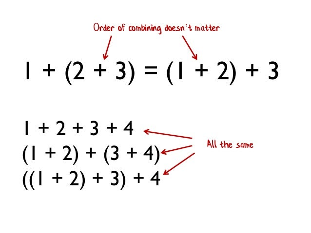 1 + (2 + 3) = (1 + 2) + 3 Order of combining doesn't matter 1 + 2 + 3 + 4 (1 + 2) + (3 + 4) ((1 + 2) + 3) + 4 All the same