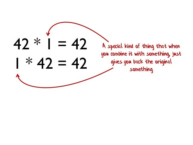 42 * 1 = 42 1 * 42 = 42 A special kind of thing that when you combine it with something, just gives you back the original ...
