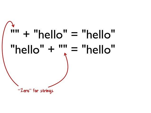 """"" + ""hello"" = ""hello"" ""hello"" + """" = ""hello"" ""Zero"" for strings"